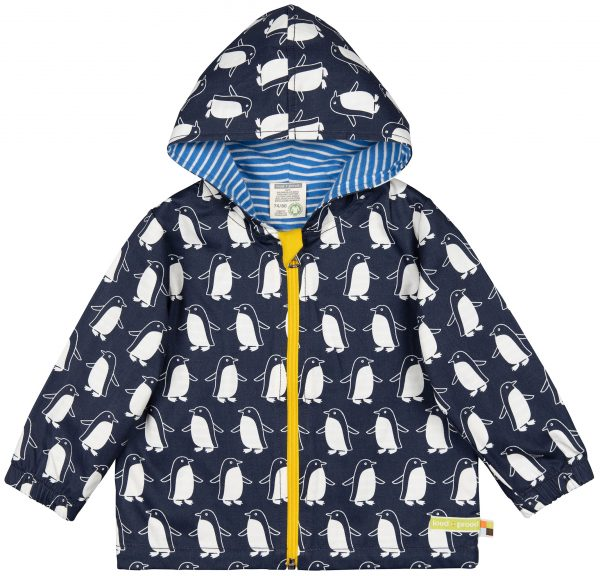 Giacca-anti-pioggia-cotone-Pinguini-blu-Loud+Proud