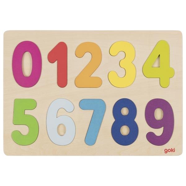 Puzzle legno numeri da 0 a 9 Goki