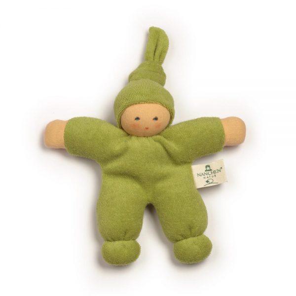 Bambola bebè nodino verde - cotone bio Nanchen