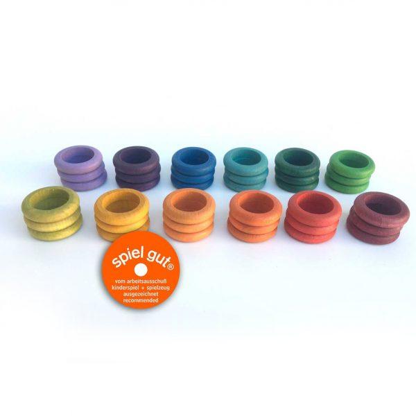 Set 36 anelli 12 arcobaleno legno Grapat