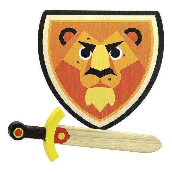 Set scudo e spada in legno Leone Vilac
