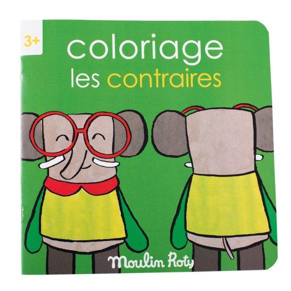 Quaderno da colorare gioco-imparo Contrari Popipop Moulin Roty