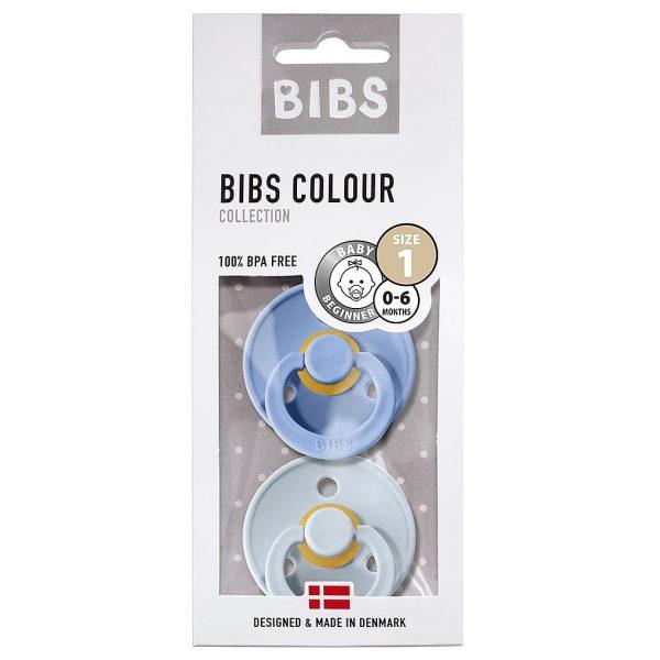 Set 2 ciucci in gomma naturale azzurro e blu BIBS