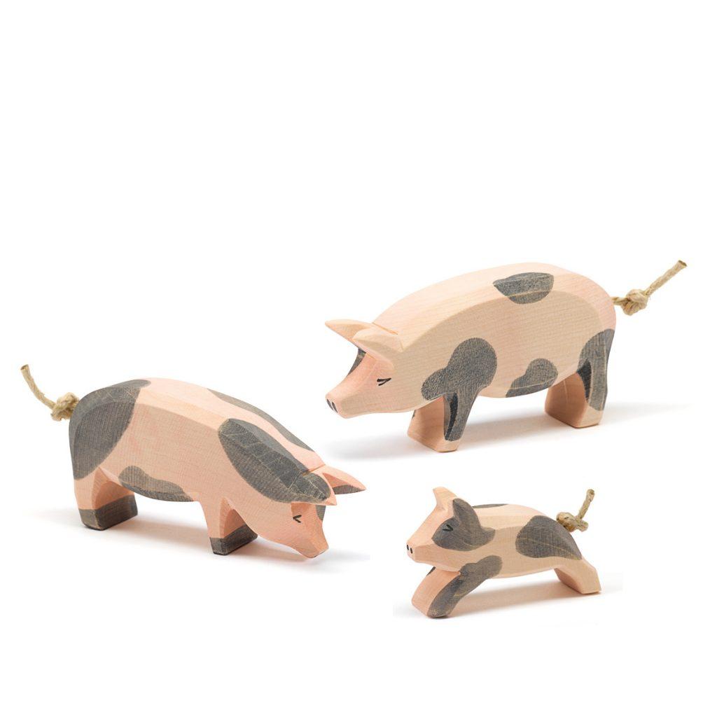 Figure legno Famiglia maiale pezzato - Ostheimer