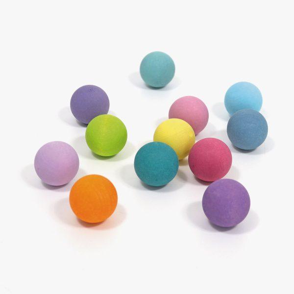 12 Small Rainbow Balls colori pastello Grimm's