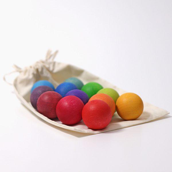 12 Small Rainbow Balls colori primari Grimm's