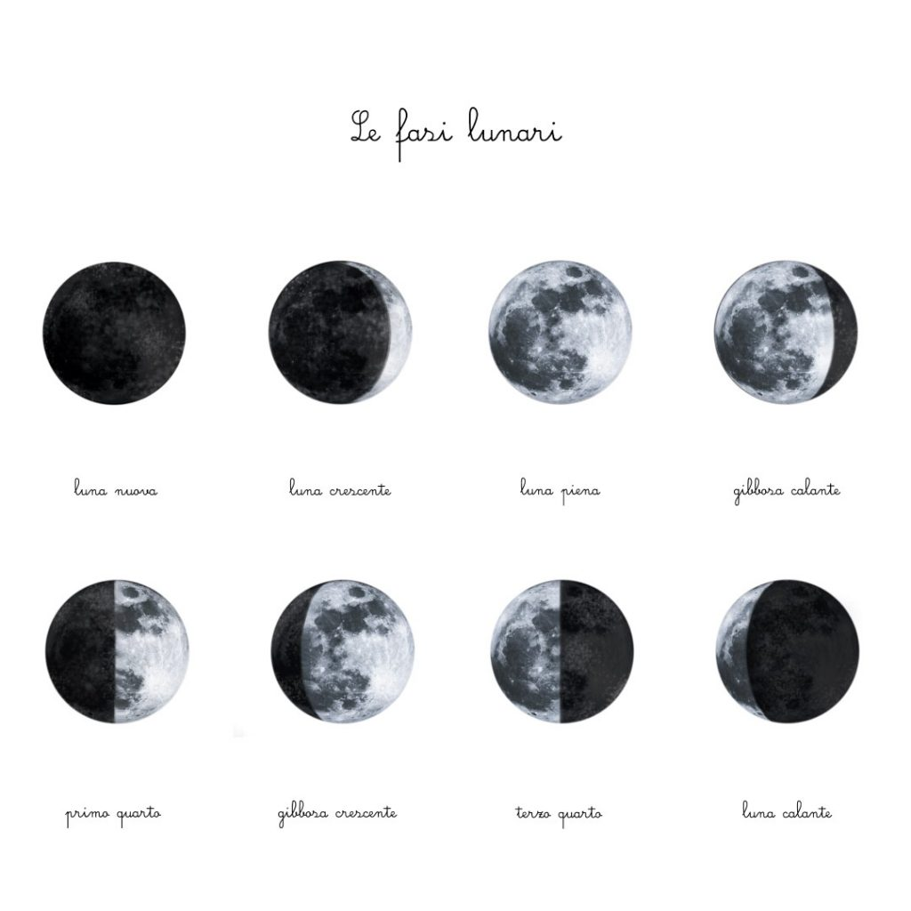 Carte delle nomenclature Fasi Lunari + Poster