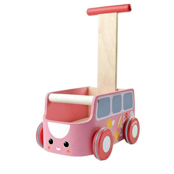 Carrellino primi passi autobus rosa Plan Toys
