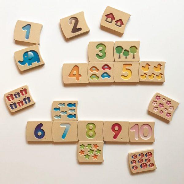 Gioco logico matematico tessere numeri 1-10 Plan Toys