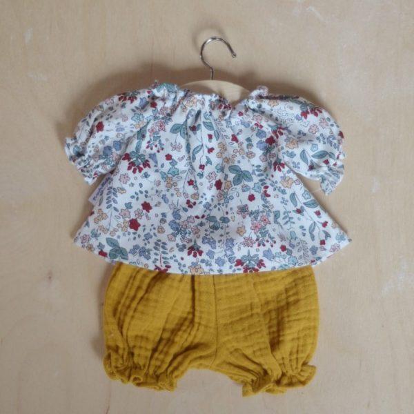 Abito camicetta + culotte fiori bambola 34 cm