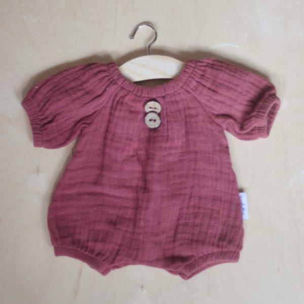 Abito pagliaccetto mussola viola bambola 34 cm