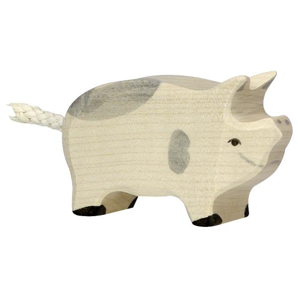 Figura legno maialino pezzato - Holztiger