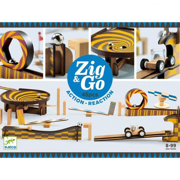 Pista azione reazione ZIG & GO Wroom 45 pezzi Djeco