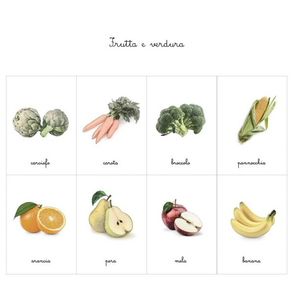 Carte delle nomenclature frutta e verdura Baboo
