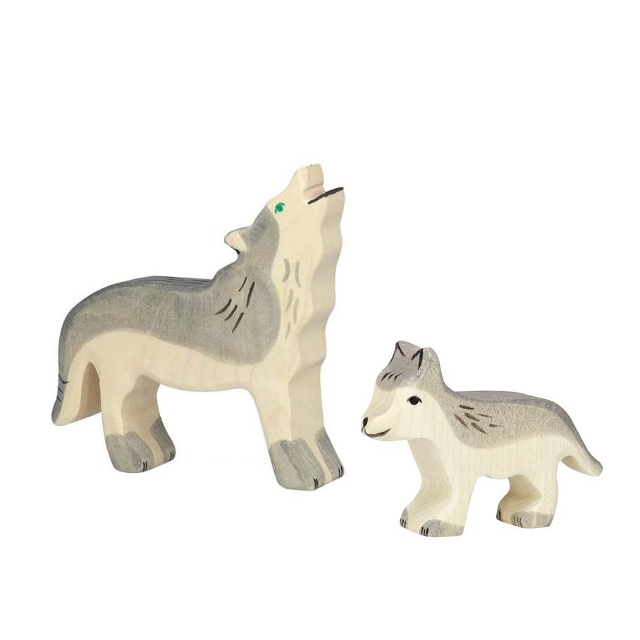 Figura legno famiglia lupo - Holztiger