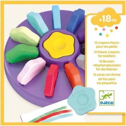 Set 12 pastelli a cera fiore impugnatura ergonomica Djeco