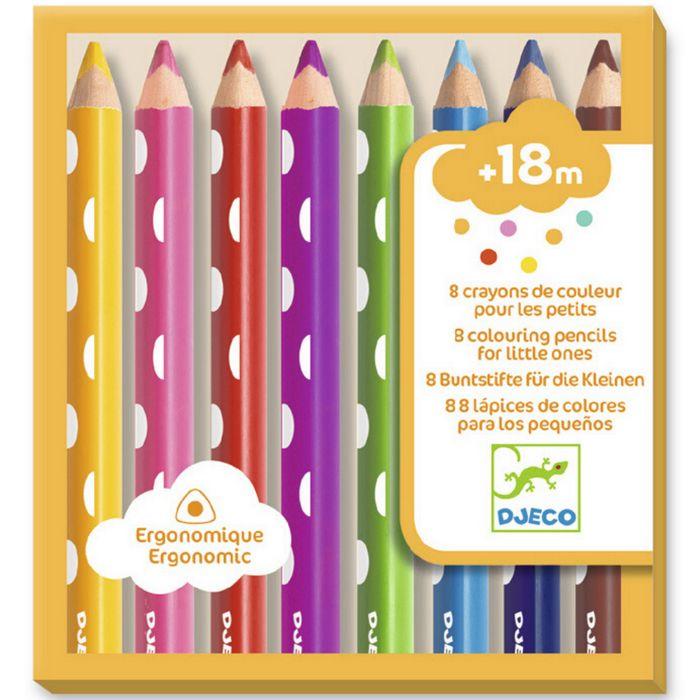 Set 8 matite colorate impugnatura ergonomica Djeco