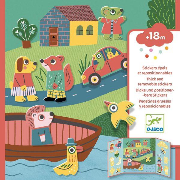 Set da viaggio stickers riposizionabili Animali Djeco