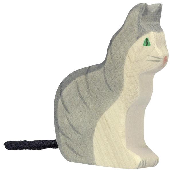 Figura legno gatto tigrato seduto - Holztiger