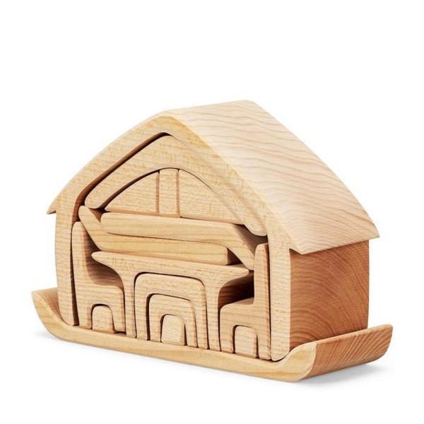 Casa con mobili impilabile naturale Gluckskafer