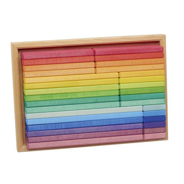 Scatola costruzioni listelli arcobaleno 32 pezzi Gluckskafer