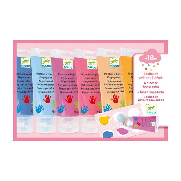 Set 6 colori a dita pastello Djeco
