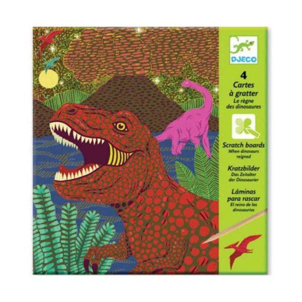 Set artistico Carte da grattare dinosauri Djeco