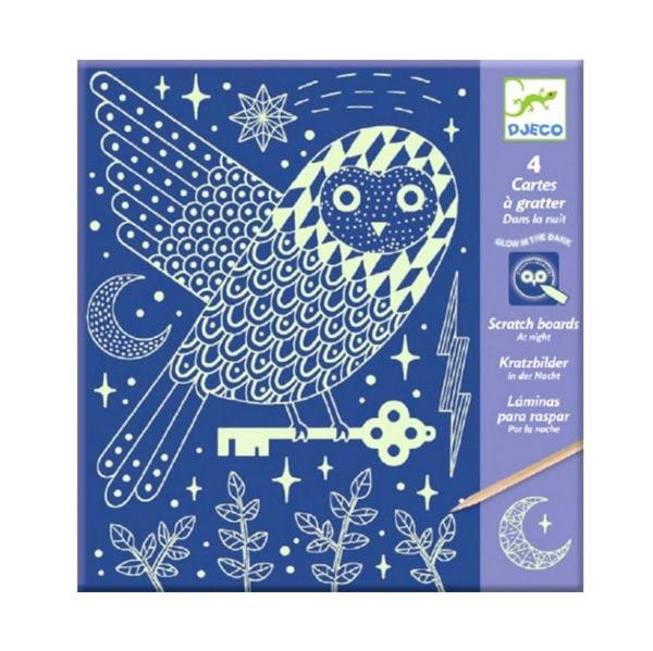 Set artistico Carte da grattare fluo Djeco