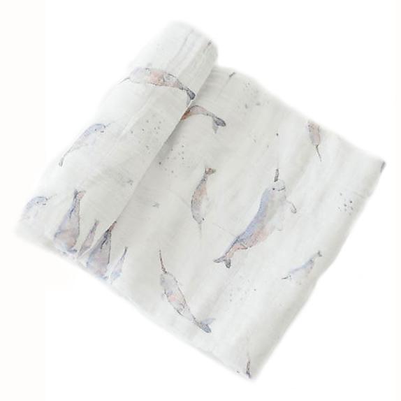 1 Telo mussola di cotone Narvalo 120x120 Little Unicorn