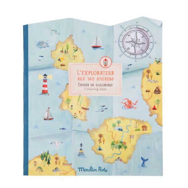 Album da colorare con adesivi L'esploratore Le Jardin Moulin Roty