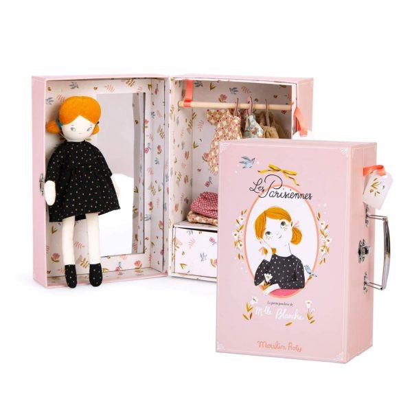 Valigetta Armadio + bambola + vestiti Les Rosalies Moulin Roty