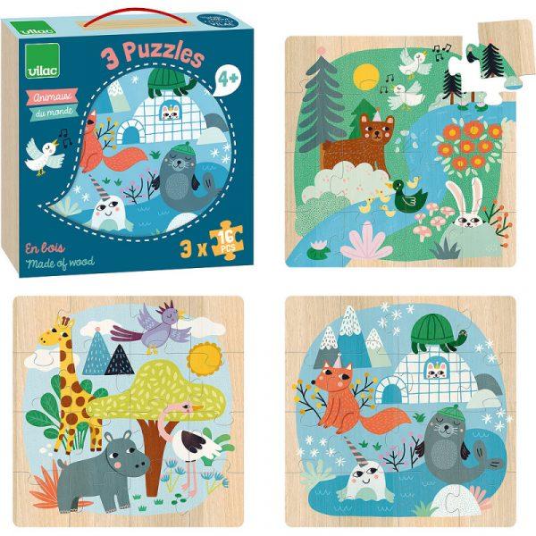 3 Puzzle legno Animali del mondo 16 pezzi Vilac