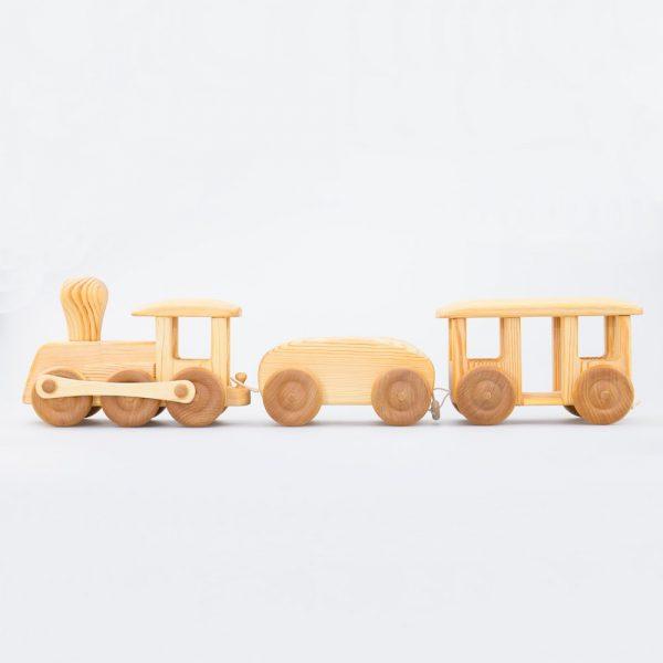 Trenino con due vagoni in legno massello Drei Blatter